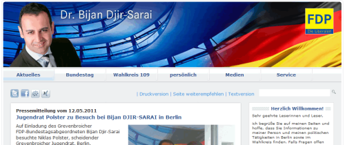 Screenshot der Homepage von Bijan Djir-Sarai, 25.05.2011