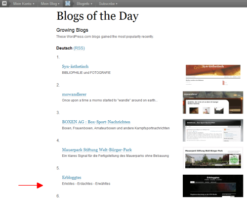 Screenshot der WordPress-Growing-Blogs vom 22.05., 22:22h