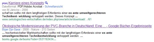 Google-Suche nach einer ex ante umweltgerechteren Technikentwicklung