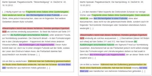 Vergleich von Spiewak, 18.10.2012, mit Spiewak, 10.05.2012