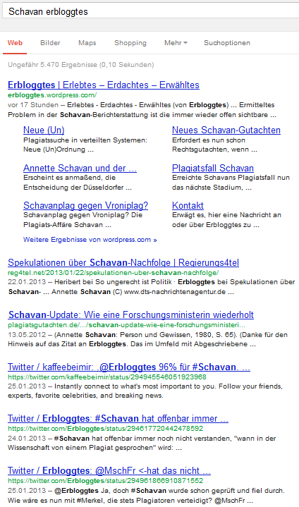 Google.de, Schavan erbloggtes, 1-10
