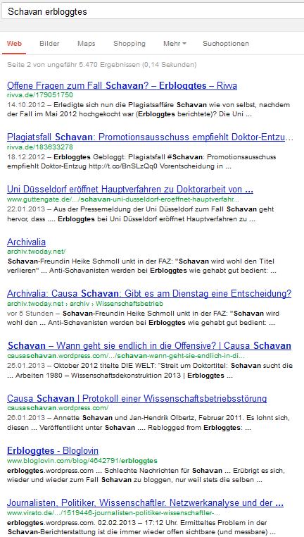Google.de, Schavan erbloggtes, 11-20