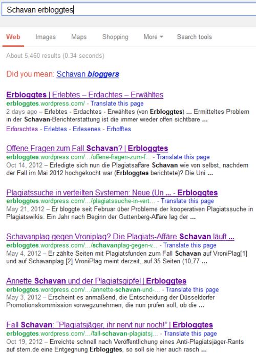 Google.com, schavan erbloggtes, 1-10