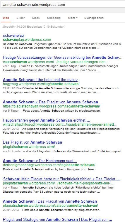 Google.de, annette schavan site:wordpress.com, 1-10