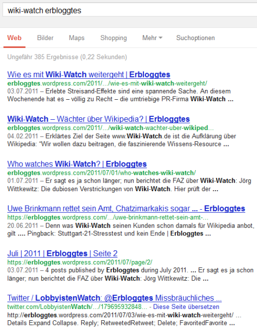 Google.de, wiki-watch erbloggtes, 1-10