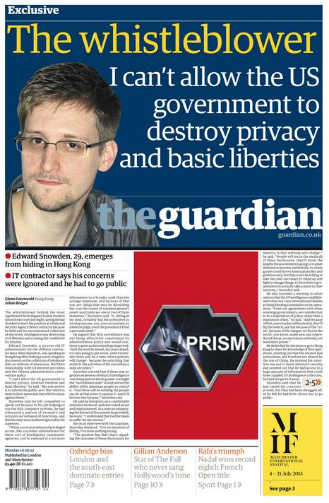 Titelblatt von The Guardian, 10. Juni 2013