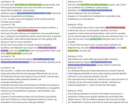 automatisch eingefärbter Vergleich Lammert, S. 18f., mit Mühleisen 1973b