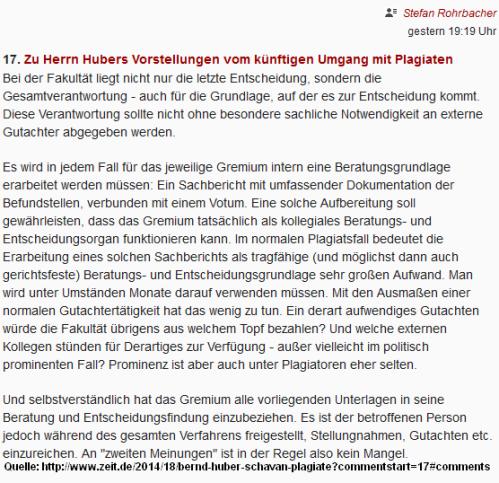 Rohrbacher-Kommentar in Zeit online, 24. April 2014