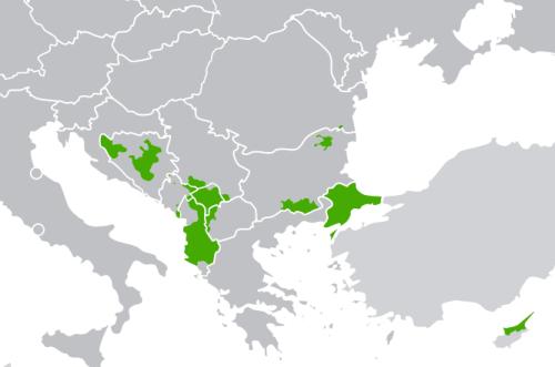 Gebiete mit muslimischer Bevölkerungsmehrheit laut Wikipedia, CC-BY-SA User:Scooter20